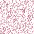 stock image of  Contour leaves seamless pattern