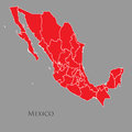 Contour map of Mexico on a gray
