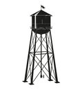 Contour of the old water tower Royalty Free Stock Photo