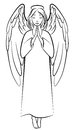 Contour praying angel vector illustrations of Stock Photo
