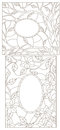 Contour set illustration with stained glass in an abstract framework with flowers, leaves and branches