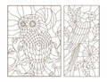Contour set with illustrations of stained glass birds the owl and parrot on the branches of trees