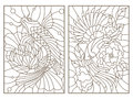 Contour set with  illustrations of the stained glass Windows of animals, bird and blossoming tree, a fish and Lotus Royalty Free Stock Photo