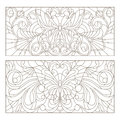 Contour set of stained glass with illustrations abstract swirls ,flowers and butterflies , horizontal orientation Royalty Free Stock Photo