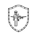 Contour shield with pilot with aeroplane Royalty Free Stock Photo