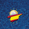 Contour of Spain with European Union stars and euro coin against blue background, digital composite Royalty Free Stock Photo