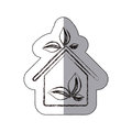 contour sticker eco houese with leaves icon Royalty Free Stock Photo