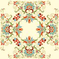 Contoured floral frame composition in turkish style for scrapbook paper design batik cards decoupage Stock Photography