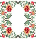 Contoured floral frame composition in turkish style for scrapbook paper design batik cards decoupage Royalty Free Stock Images