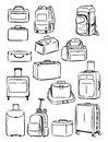 Contours of travel bags Royalty Free Stock Photo