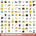 100 contraband icons set, flat style