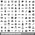 100 contraband icons set, simple style