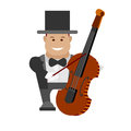 Contrabass illustration of man with musical instrument on white background Stock Image