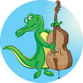 Contrabass player vector illustration of crocodile mascot playing Stock Photo