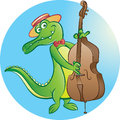 Contrabass player vector illustration of crocodile mascot playing double bass Royalty Free Stock Photo