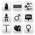 Contraception methods sex buttons sex protection against pregnancy safe grey square set isoalted on white Royalty Free Stock Photos
