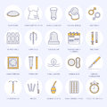 Contraceptive methods line icons. Birth control equipment, condoms, oral contraceptives, iud, barrier contraception