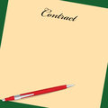 Contract and red pen the form of with a vector illustration Royalty Free Stock Photo