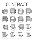 Contract related vector icon set