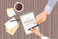 Contract Sign Up Paper Document Business People Agreement Pen Signature Office Desk Royalty Free Stock Photo