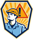 Contractor construction worker caution sign retro illustration of a builder looking up with hazard in background set inside shield Stock Images