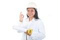Contractor girl ok gesture