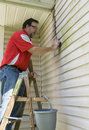 Contractor on ladder cleaning algae and mold from vinyl siding customers house with Stock Photos