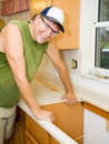 Contractor Remodels Kitchen Royalty Free Stock Photo