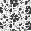 Contrast black and white floral pattern