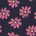 Contrast floral pattern with doodle pink flowers