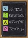 Contrast repetition alignment and proximity crap the four principles of sound design white chalk handwriting color sticky notes on Royalty Free Stock Image