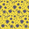 Contrast yellow hand drawn ink flowers pattern