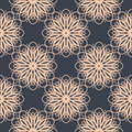 Contrasting floral pattern. Seamless background with flowers in dark blue and light pastel pink colors. Vector