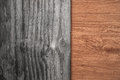Contrasting old and new wood textures background Royalty Free Stock Photos