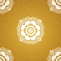 Contrasting seamless pattern with large flowers curls and leaves white lace ornament on a gold background it can be used for Stock Image