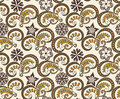 Contrasting simple pattern with fancy flowers on a beige background Stock Image
