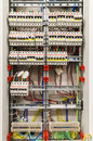 Control panel with many circuit breakers in fusebox Royalty Free Stock Photos
