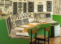 Control panel of a power plant indoors Royalty Free Stock Images