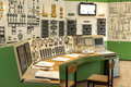 Control panel of a power plant indoors Stock Photos