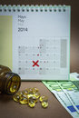 Control pills on a calendar Royalty Free Stock Photo