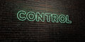 CONTROL -Realistic Neon Sign on Brick Wall background - 3D rendered royalty free stock image