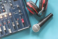 In the control room audio system. Royalty Free Stock Photo