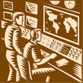 Control room command center headquarter woodcut illustration of a communications with two operators working in front of world map Royalty Free Stock Photos