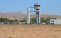 The control tower at alicante airport elche can be seen through slight heat haze Royalty Free Stock Photos