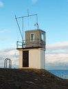 The Control tower from its vantage point in Donaghadee Harbour used by race officials in overseeing of the various events of the l Royalty Free Stock Photo