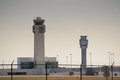 Control towers the air traffic at cleveland hopkins international airport Stock Image