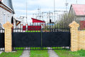 Contryside black gate Royalty Free Stock Photo