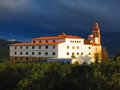 Convent of flores patron saint of alora near andalucia in cloud and sunshine Royalty Free Stock Photos