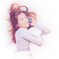 Conversation on phone in bed Royalty Free Stock Photo
