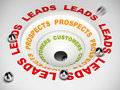 Conversion funnel leads to sales process diagram converting prospects and then customer d illustration Stock Photography